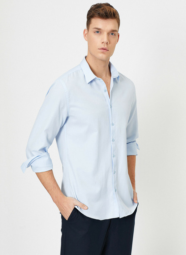 Koton Klasik Yaka Uzun Kollu Slim Fit Smart Gömlek Mavi